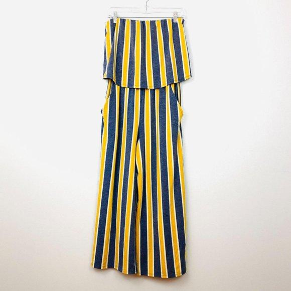 Gypsies & Moondust Yellow Gray Stripe Jumpsuit